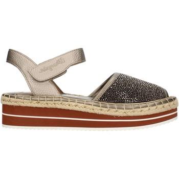Schuhe Damen Leinen-Pantoletten mit gefloch Wrangler WL161611 Bronze