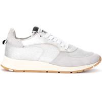 Schuhe Damen Sneaker Low Philippe Model Paris Sneaker Montecarlo aus Leder und Silberglitzer Silber