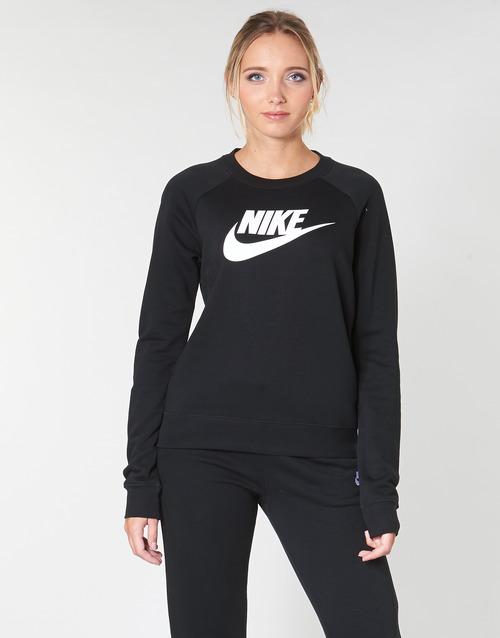 Kleidung Damen Sweatshirts Nike W NSW ESSNTL CREW FLC HBR Schwarz