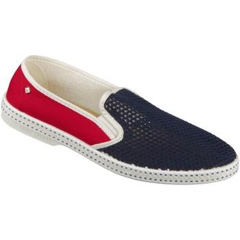 Schuhe Herren Leinen-Pantoletten mit gefloch Rivieras Slipper TDM 9999 France France Textile 9999 France blau
