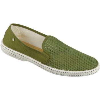 Schuhe Herren Leinen-Pantoletten mit gefloch Rivieras Slipper Classic 2011 kaki kaki Textile 2011 kaki grün