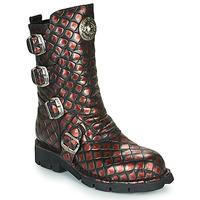 Schuhe Damen Boots New Rock  Schwarz / Rot