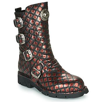 Schuhe Damen Boots New Rock M-373X Schwarz / Rot