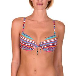 Kleidung Damen Bikini Ober- und Unterteile Lisca Capri--Korallen-Push-up-Badeanzug Top Jeansstoff