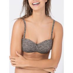 Kleidung Damen Bikini Ober- und Unterteile Beachlife Cheetah  Bandeau Badeanzug Top Flieder