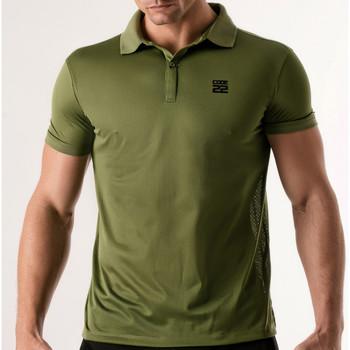 Kleidung Herren Polohemden Code 22 Lochblende Polohemd Code22 Lavendel
