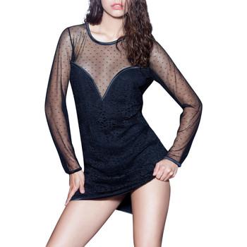 Kleidung Damen Kurze Kleider Luna Prestige Lounge  Splendida Langärmeliges Kleid Perlschwarz