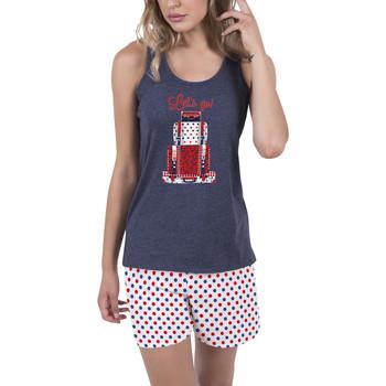 Kleidung Damen Pyjamas/ Nachthemden Admas Innenbekleidung Pyjama-Shorts Tank-Top Lets Go blau Blau