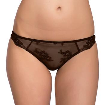 Unterwäsche Damen Strings Luna Brasilianische Flitterwochen--Spitze Schokolade/Hautange