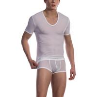 Unterwäsche Herren Unterhemden Olaf Benz T-Shirt mit weitem V-Ausschnitt RED0965 Weiß