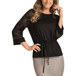 Kleidung Damen Tops / Blusen Lisca Spitzentop mit Dreiviertelärmeln Veronica Perlschwarz