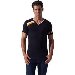 Kleidung Herren T-Shirts Code 22 Asymmetrisches Sport-Shirt Code22 Perlschwarz