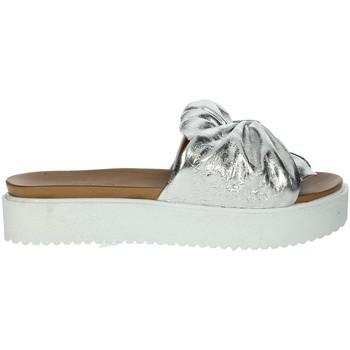 Schuhe Damen Pantoffel Donna Style 19-281 Silber
