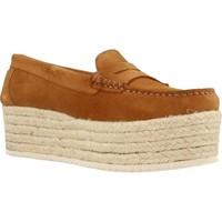 Schuhe Damen Leinen-Pantoletten mit gefloch Bossi 6671B Brown