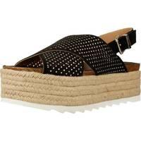 Schuhe Damen Leinen-Pantoletten mit gefloch Alpe 3356 11 Schwarz