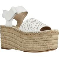 Schuhe Damen Leinen-Pantoletten mit gefloch Paloma Barcelò GBCO NAW1 Weiß