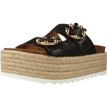 Schuhe Damen Leinen-Pantoletten mit gefloch Alpe 3780 50 Schwarz