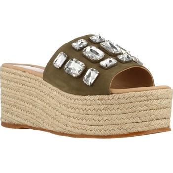Schuhe Damen Leinen-Pantoletten mit gefloch Conchisa LAURA 0504 Grün