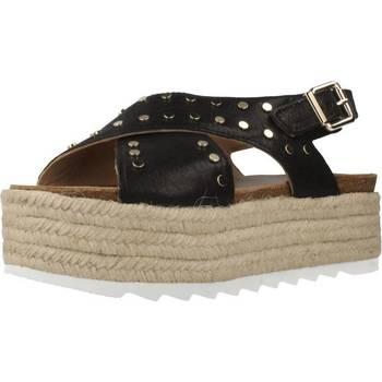 Schuhe Damen Leinen-Pantoletten mit gefloch Alpe 4276 15 Schwarz
