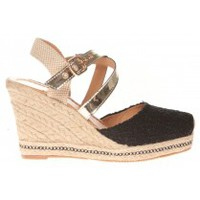 Schuhe Damen Leinen-Pantoletten mit gefloch Cassis Côte d'Azur Sandales Robinson Noir Schwarz