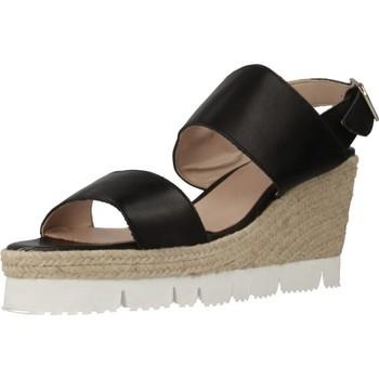 Schuhe Damen Leinen-Pantoletten mit gefloch Antonio Miro 316308 Schwarz