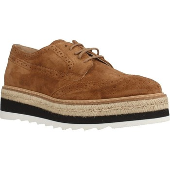Schuhe Damen Leinen-Pantoletten mit gefloch Alpe 3283 11 Brown