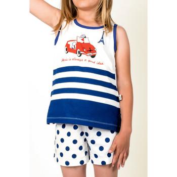 Kleidung Mädchen Pyjamas/ Nachthemden Admas Schlafanzug und kurze Hosen Nina Paris Blau Marine