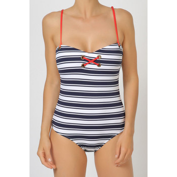 Kleidung Damen Badeanzug Admas 1-teiliges Trikot Marinestreifen Blau Marine