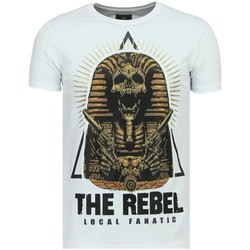 Kleidung Herren T-Shirts Local Fanatic Rebel Pharaoh Rhinestones S W Weiß