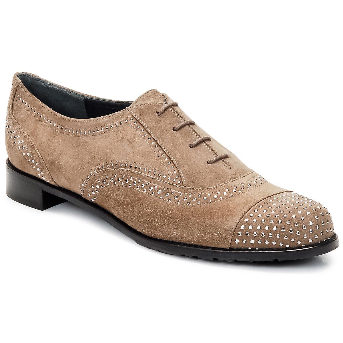 Stuart Weitzman DERBY Beige - Kostenloser Versand bei Spartoode ! - Schuhe Richelieu Damen 177,60 €
