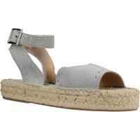 Schuhe Damen Leinen-Pantoletten mit gefloch Clover 7936C Blau