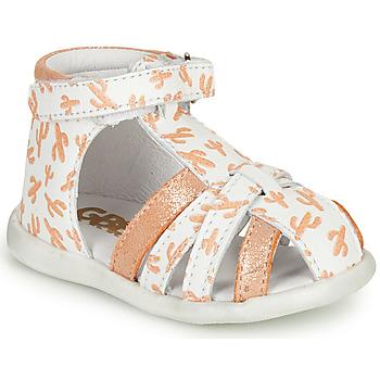 Schuhe Mädchen Sandalen / Sandaletten GBB AGRIPINE Weiss / Orange