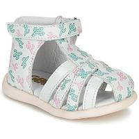 Schuhe Mädchen Sandalen / Sandaletten GBB AGRIPINE Weiss / Grün / Rose