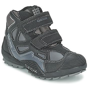 Schuhe Jungen Sneaker High Geox SAVAGE B Schwarz / Grau