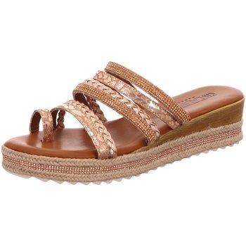 Schuhe Damen Leinen-Pantoletten mit gefloch Laufsteg München Pantoletten FS191410 beige