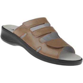 Schuhe Damen Pantoffel Natural Feet Pantolette Ines Farbe: hellbraun hellbraun