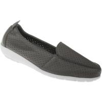 Schuhe Damen Slipper Natural Feet Mokassin Adela Farbe: grau grau