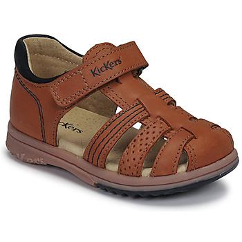Schuhe Jungen Sandalen / Sandaletten Kickers PLATIBACK Braun