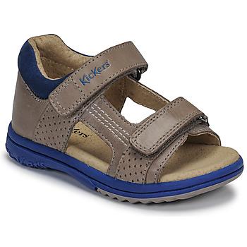 Schuhe Jungen Sandalen / Sandaletten Kickers PLAZABI Grau / Blau