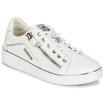 Schuhe Damen Sneaker Low Mustang 1300-303-121 Weiss / Silbern