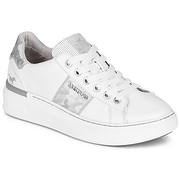Schuhe Damen Sneaker Low Mustang 1351304-121 Weiss / Silbern