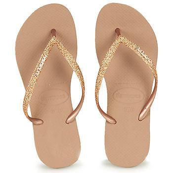 Schuhe Damen Zehensandalen Havaianas SLIM GLITTER Rose / Gold