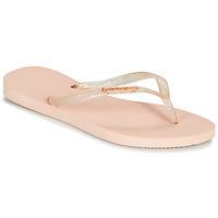 Schuhe Damen Zehensandalen Havaianas SLIM LOGO METALLIC Rose
