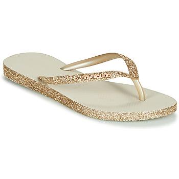 Schuhe Damen Zehensandalen Havaianas SLIM SPARKLE Beige / Gold