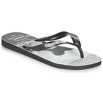 Schuhe Herren Zehensandalen Havaianas TOP PHOTOPRINT Schwarz / Weiss