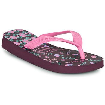 Schuhe Mädchen Zehensandalen Havaianas KIDS FLORES Aubergine