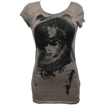 Kleidung Damen T-Shirts Rich & Royal Rich&Royal Tee shirt Visages Gris 13Q466 Grau