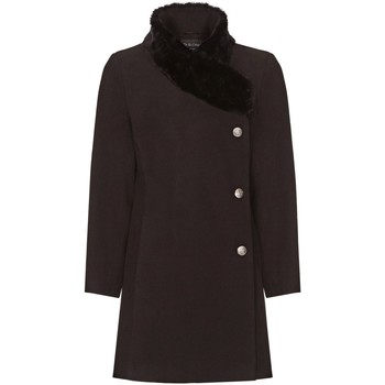 Kleidung Damen Mäntel De La Creme Damen Winter Asymetric Pelzkragen Mantel Black