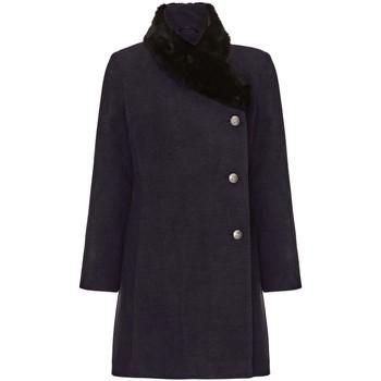Kleidung Damen Mäntel De La Creme Damen Winter Asymetric Pelzkragen Mantel Grey