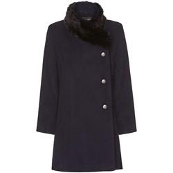 Kleidung Damen Mäntel De La Creme Damen Winter Asymetric Pelzkragen Mantel Blue
